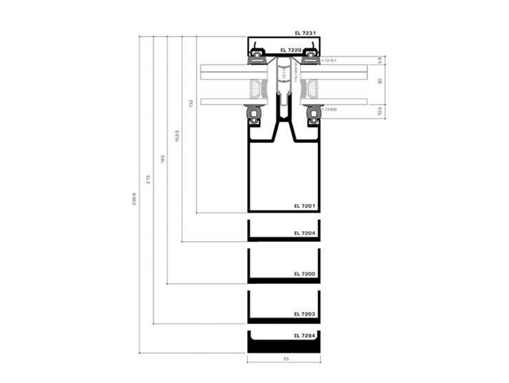 Line 7200 Atrium & Fasadë-Prerja